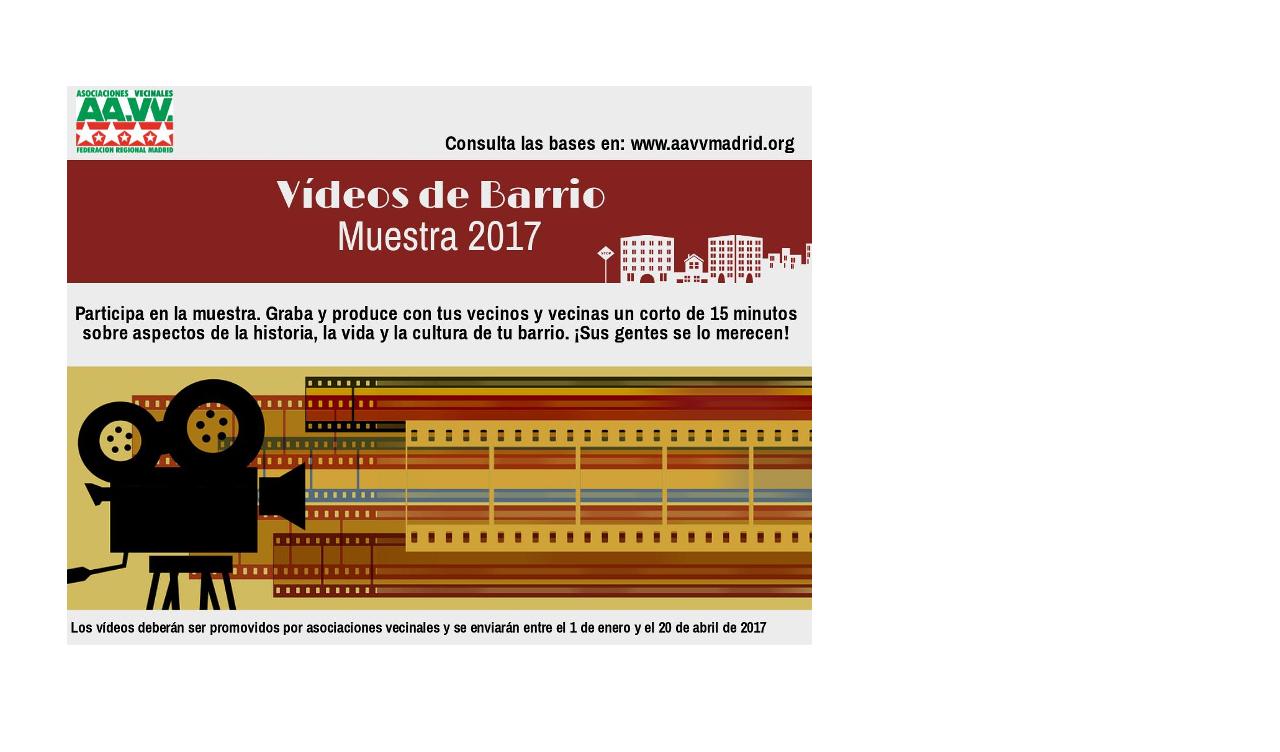 I Muestra de Vídeos de Barrio: ¡ponle cara a tu barrio!