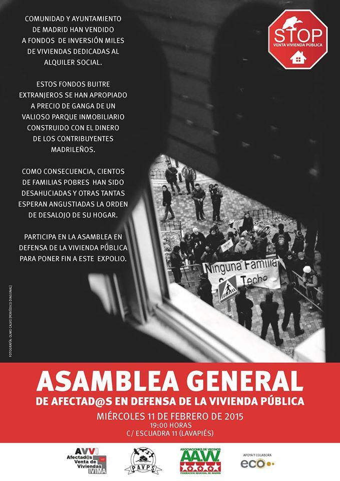 11F: asamblea contra la venta de vivienda pública