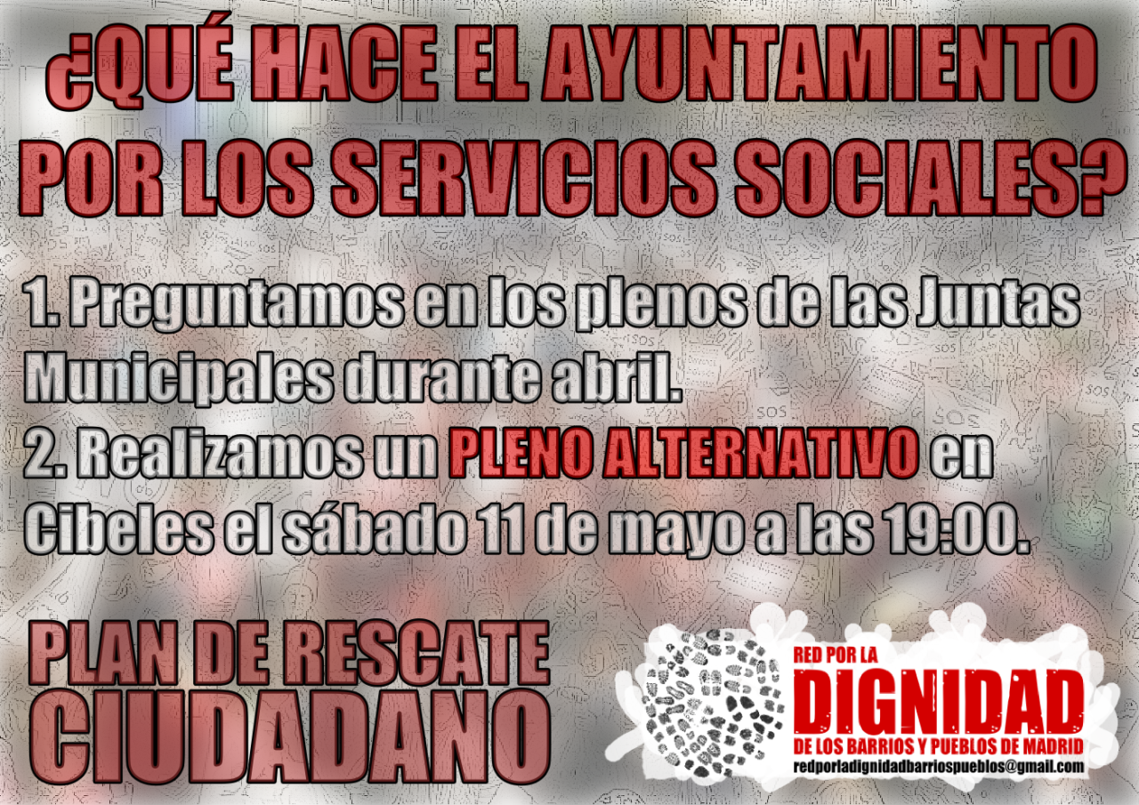 #11M: la Red por la Dignidad de los Barrios organiza un pleno alternativo