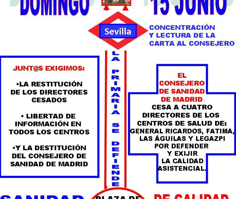 15J: Marea Blanca por la restitución de los directores represaliados y en defensa de la sanidad pública
