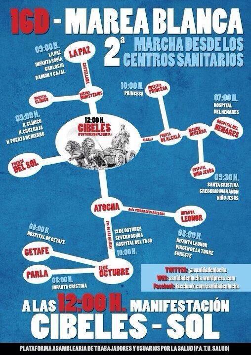 16D: segunda marcha desde los centros sanitarios hasta la Puerta del Sol