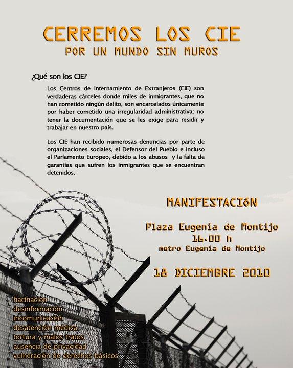 18 dic: Madrid exige el cierre de los centros de internamiento para extranjeros