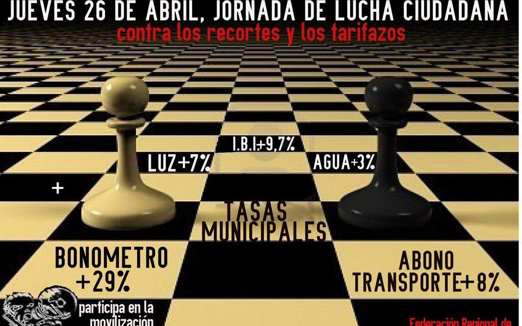 """26 de abril: las asociaciones vecinales protagonizan más de 20 acciones de denuncia contra el """"tarifazo"""" del transporte público"""