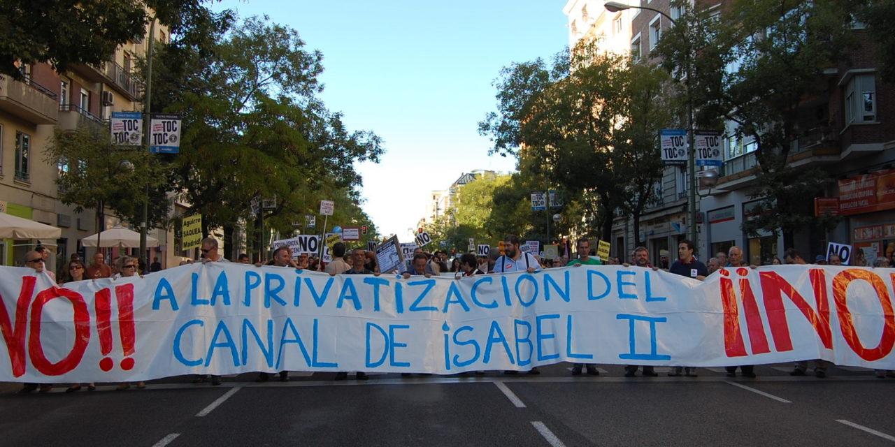 3D: concentración contra la última vuelta de tuerca en la privatización del Canal de Isabel II