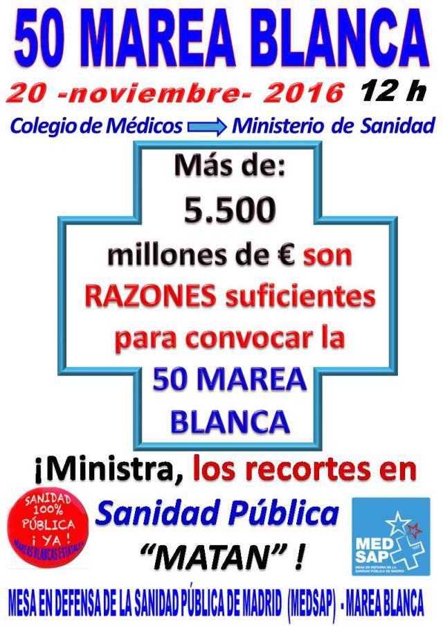 ¡50 mareas en defensa de la sanidad pública!