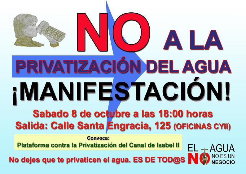 8 de octubre: Madrid saldrá a la calle contra la privatización del Canal de Isabel II