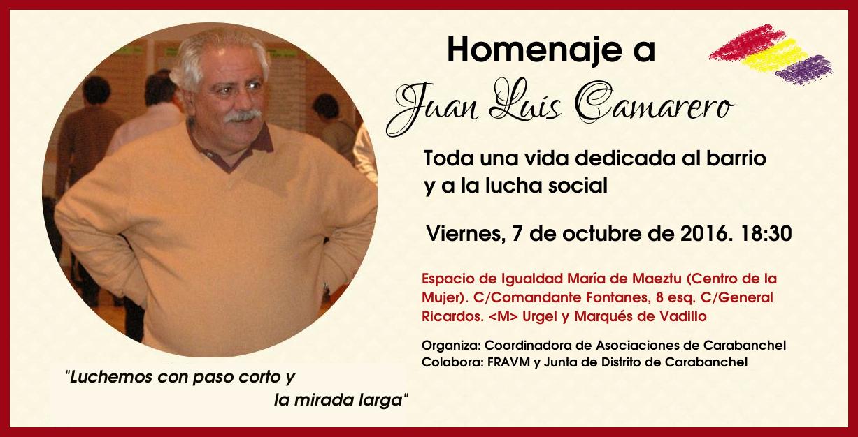 Carabanchel rinde homenaje a Juan Luis Camarero, referente del movimiento vecinal