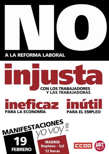 El movimiento vecinal anima a la ciudadanía a marchar el domingo 19-F contra la reforma laboral