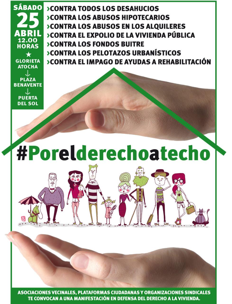 El sábado 25 de abril una gran manifestación por el derecho a techo recorrerá las calles de Madrid