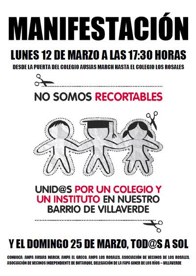 El vecindario de Butarque (Villaverde) celebrará dos manifestaciones para exigir dos equipamientos educativos