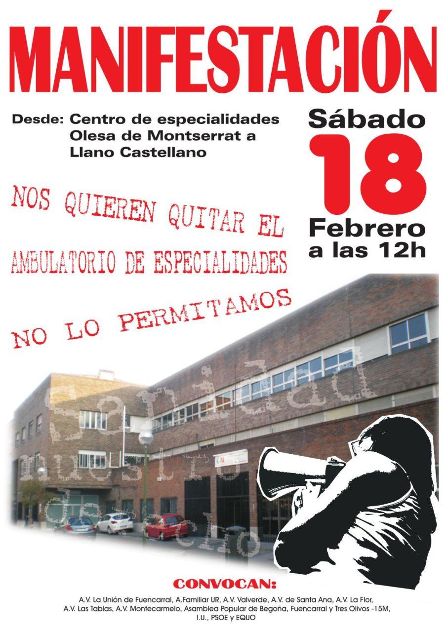 Fuencarral saldrá a la calle el sábado contra el cierre de su centro de especialidades