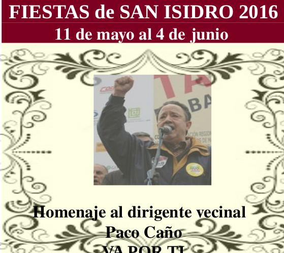 La AV Tercio Terol dedica las fiestas de San Isidro a Paco Caño