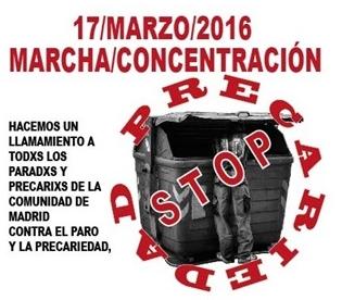 La Coordinadora de Desempleados y Precarios lleva su protesta a la Asamblea de Madrid