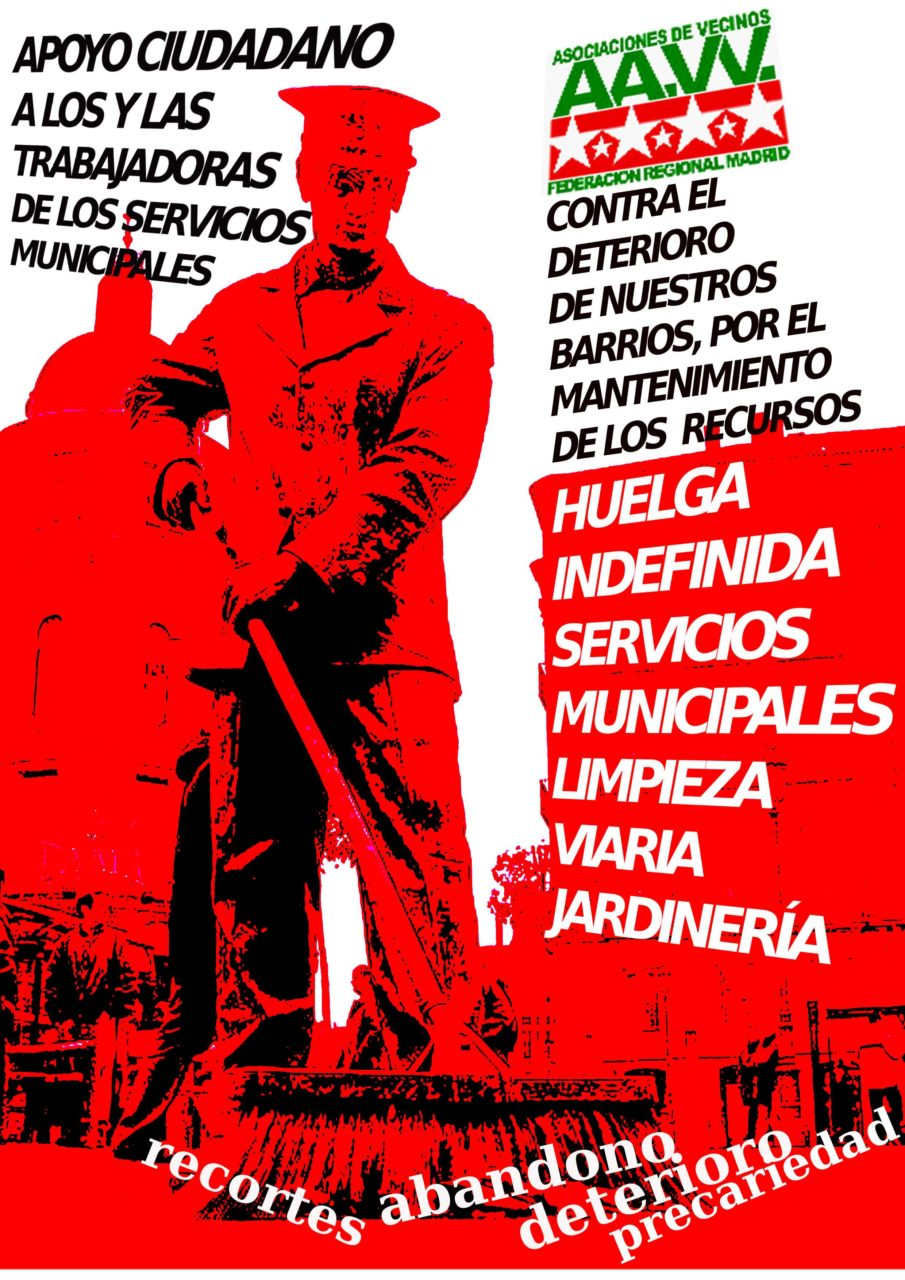 La FRAVM, con las trabajadoras y trabajadores de los servicios municipales de limpieza viaria y jardinería