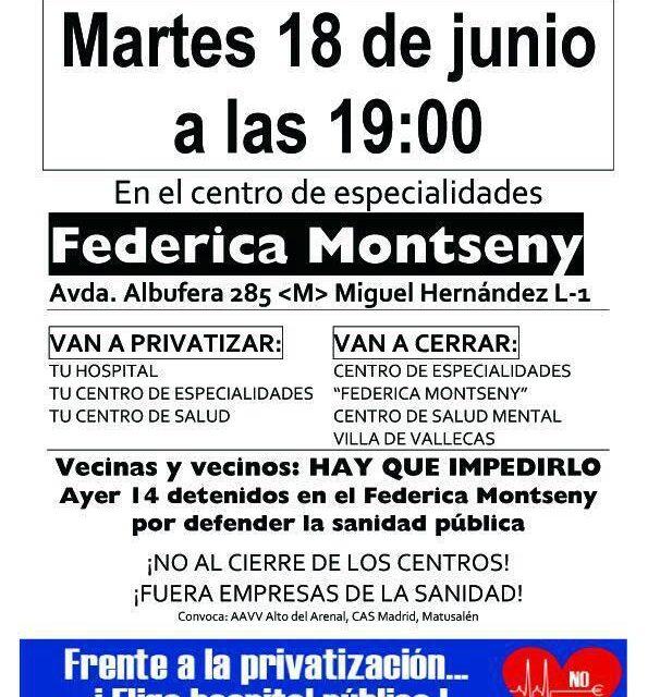 La FRAVM condena la represión ejercida sobre las vecinas y vecinos encerrados en el centro de salud Federica Montseny
