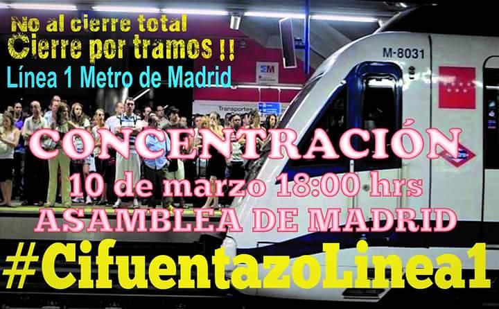 La FRAVM se suma a la manifestación para pedir el cierre por tramos de la Línea 1 de Metro