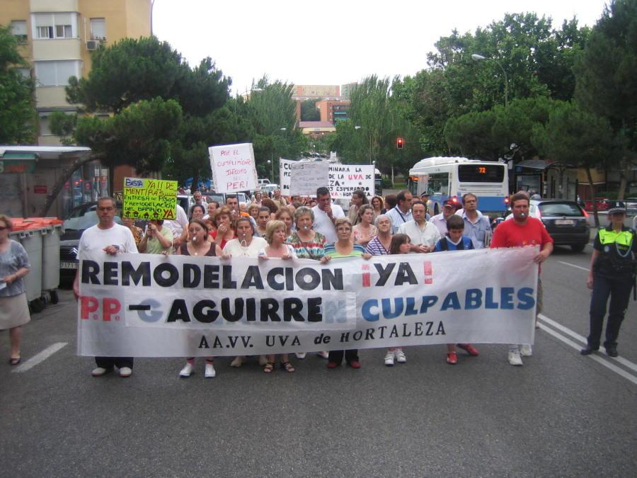 La UVA de Hortaleza exige la urgente ejecución de la remodelación del barrio