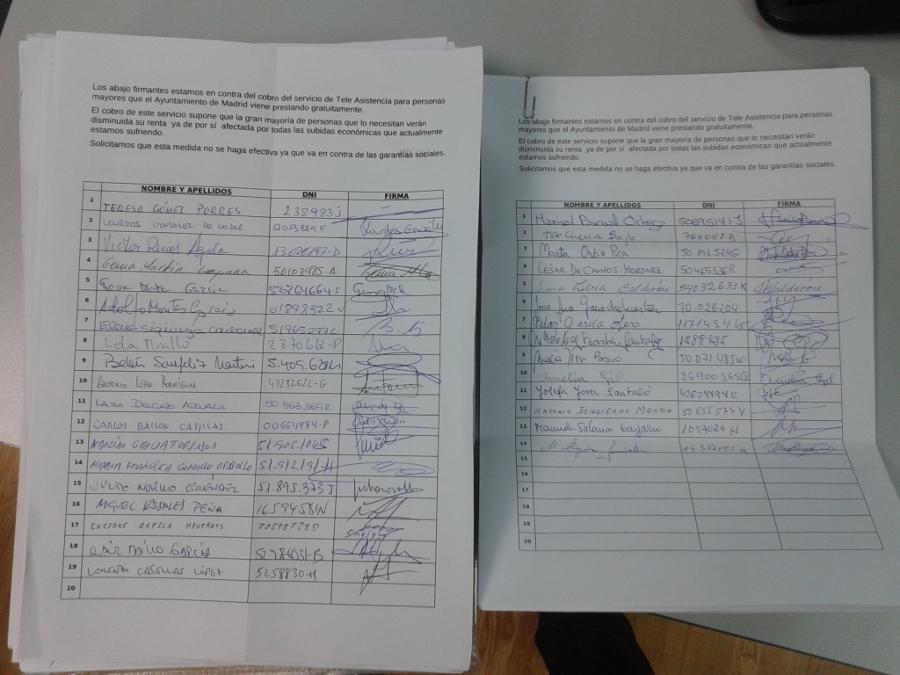 Las asociaciones vecinales registran 11.428 firmas contra el cobro de la teleasistencia