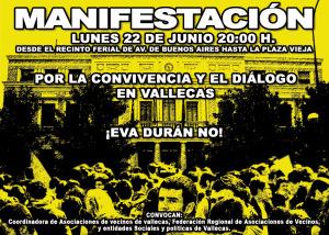 Lunes 22-J: las asociaciones vecinales se manifiestan por la convivencia y el diálogo en Vallecas