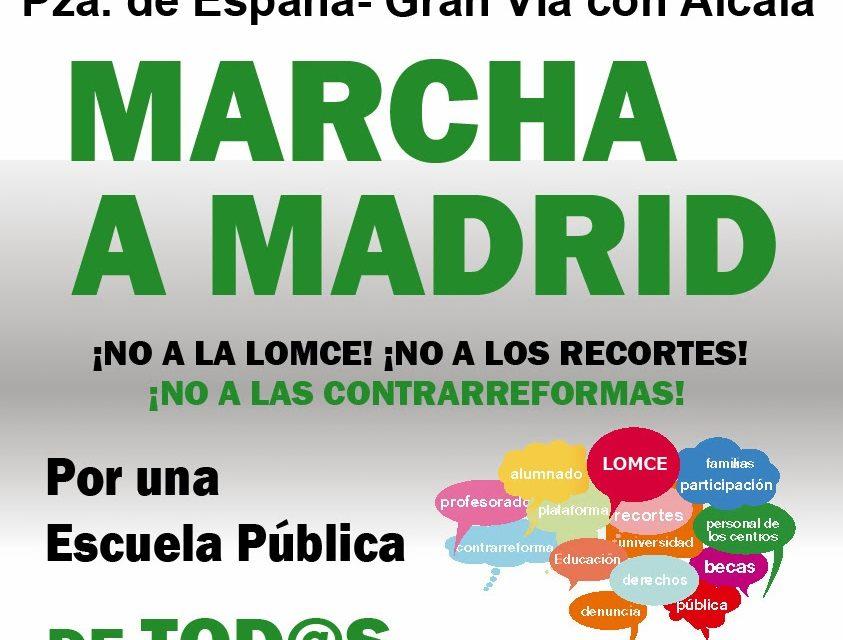 Madrid recibe el 30-N la marcha estatal por la escuela pública