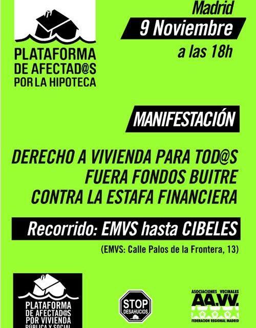 Manifestación 9-N: por el derecho a la vivienda, contra la estafa financiera