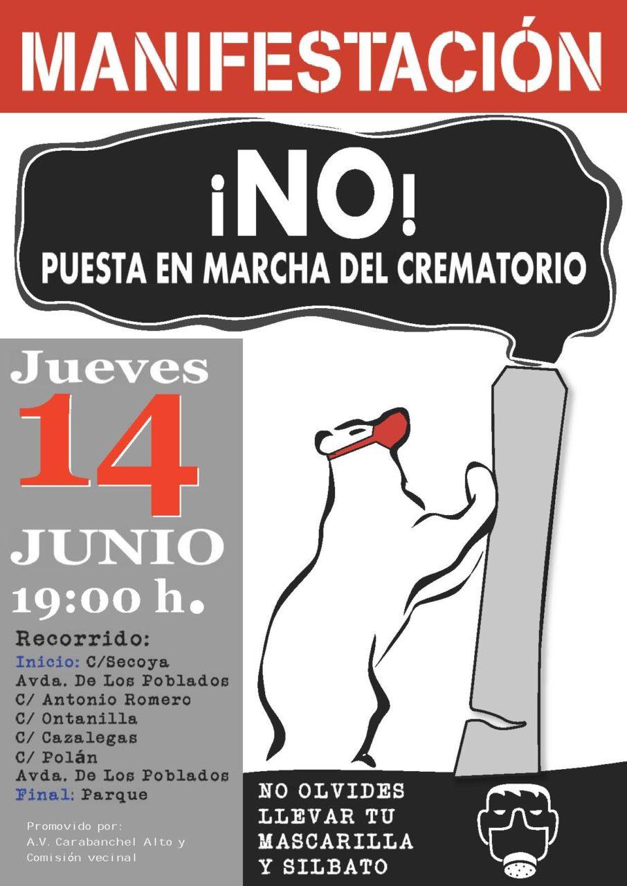 Manifestación contra los hornos crematorios del cementerio Sur