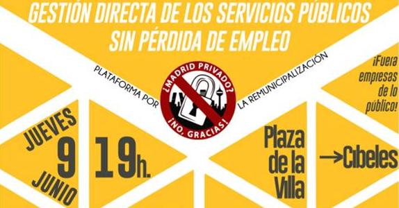Marcha por la remunicipalización de los servicios públicos de la capital