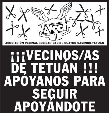 No al desalojo de la Asociación Vecinal Cuatro Caminos-Tetuán