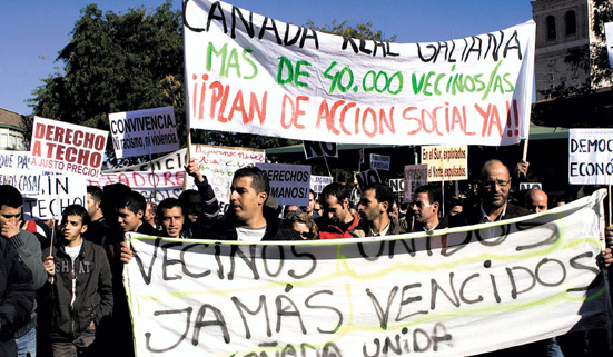 La FRAVM exige que las administraciones estatal, autonómica y local se reúnan con carácter urgente para resolver la situación de los vecinos de la Cañada Real Galiana
