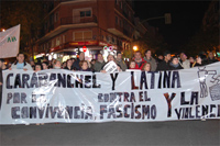 Unas 400 personas se manifiestan en Carabanchel contra la violencia y el fascismo