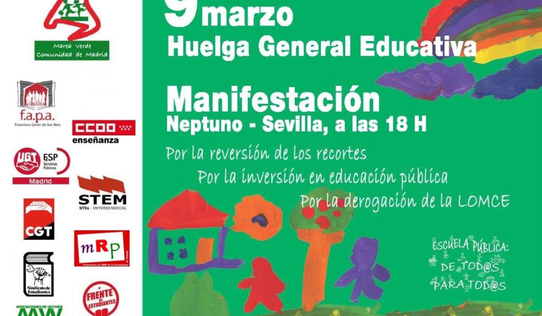 La FRAVM anima a vaciar las aulas contra la LOMCE el 9 de marzo