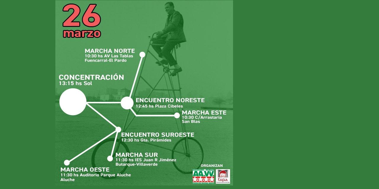 26-M: Cuatro marchas ciclistas reclamarán a Cifuentes más equipamientos educativos públicos
