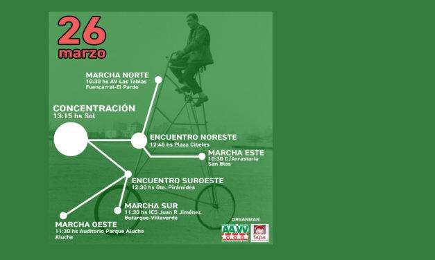 26M: Cuatro marchas ciclistas llevarán al centro de Madrid la necesidad de nuevos equipamientos educativos