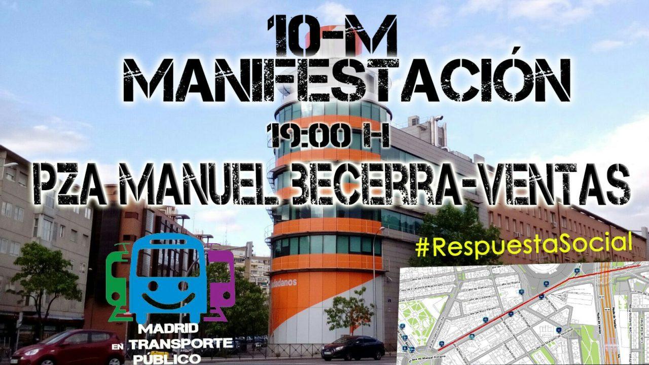 Protesta ante el rechazo de Ciudadanos al Abono Social de Transporte