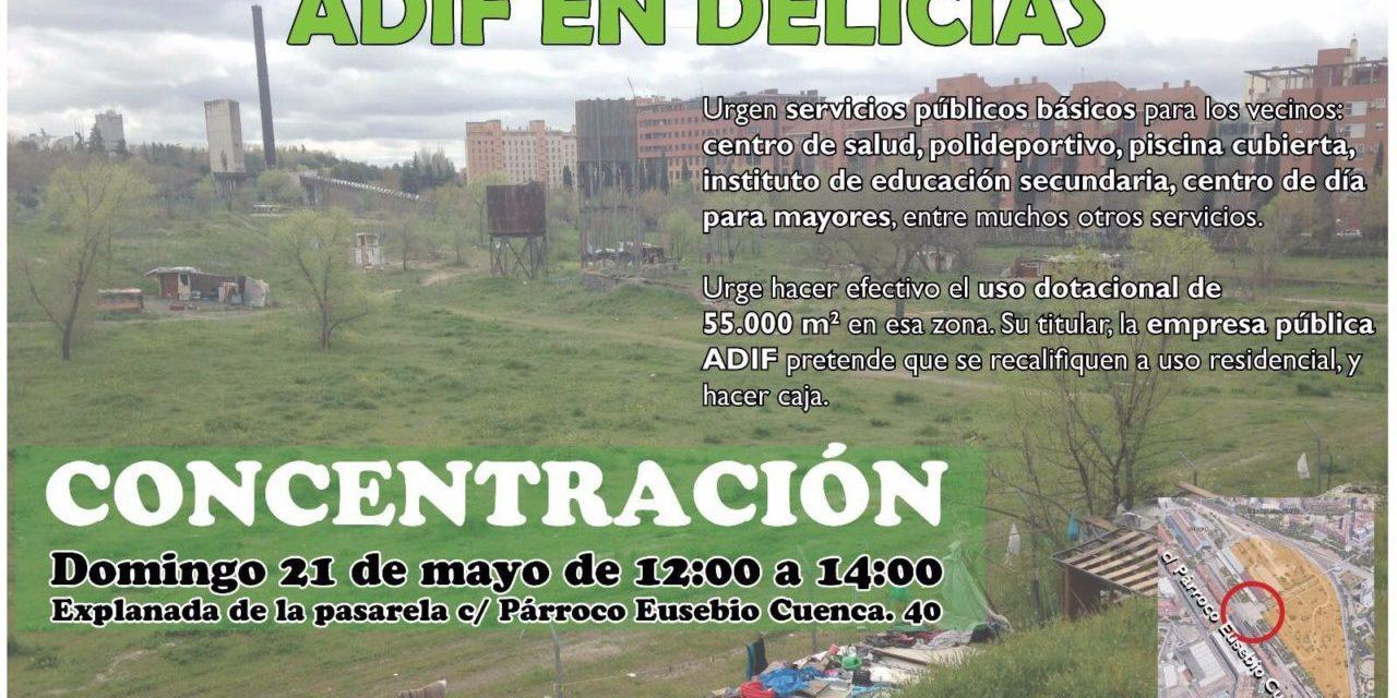 Nueva manifestación para exigir el uso dotacional de los terrenos abandonados de Adif en Delicias