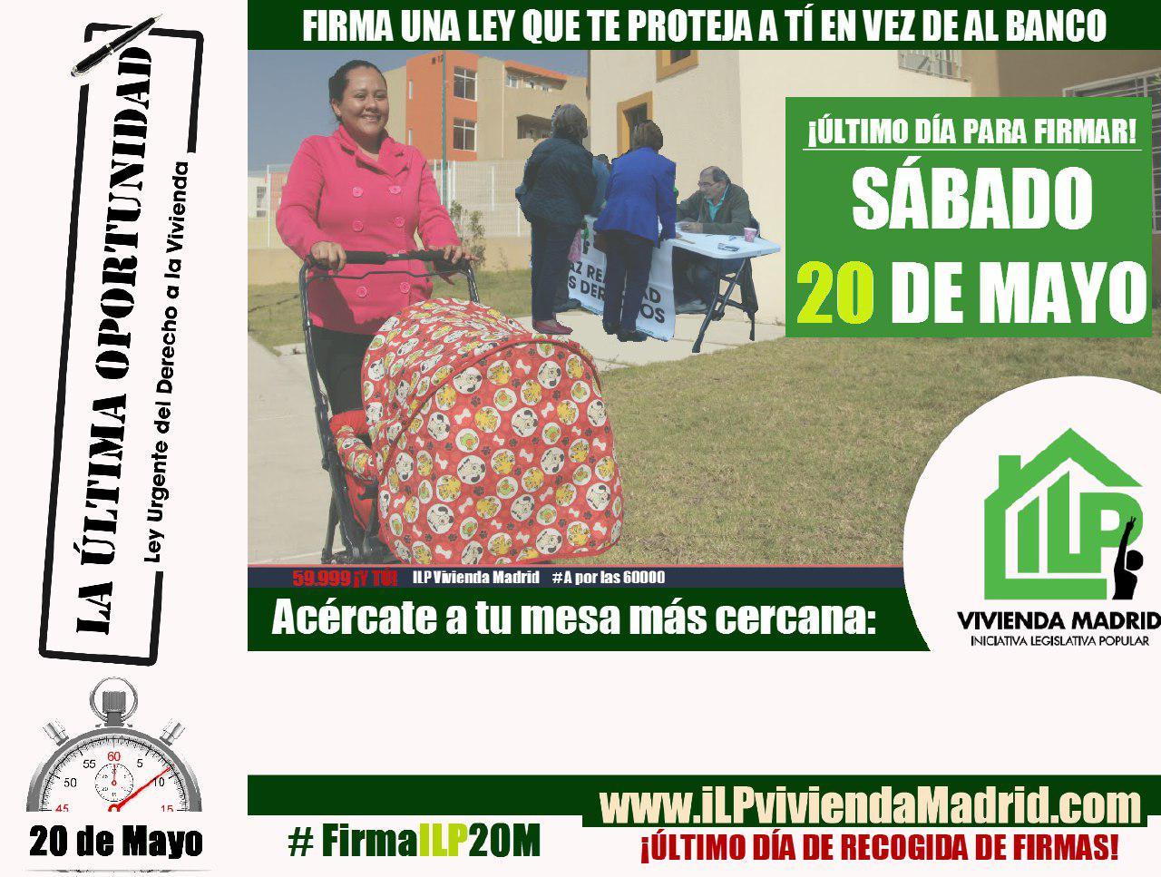 20-M: segunda y última gran jornada de recogida de firmas de la ILP de vivienda