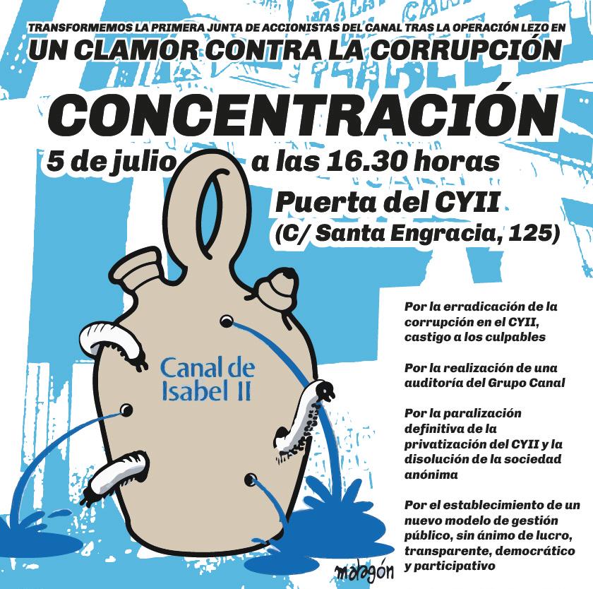 5-J: manifestación ante la junta de accionistas del Canal para pedir un modelo de gestión pública que sirva de freno a la corrupción