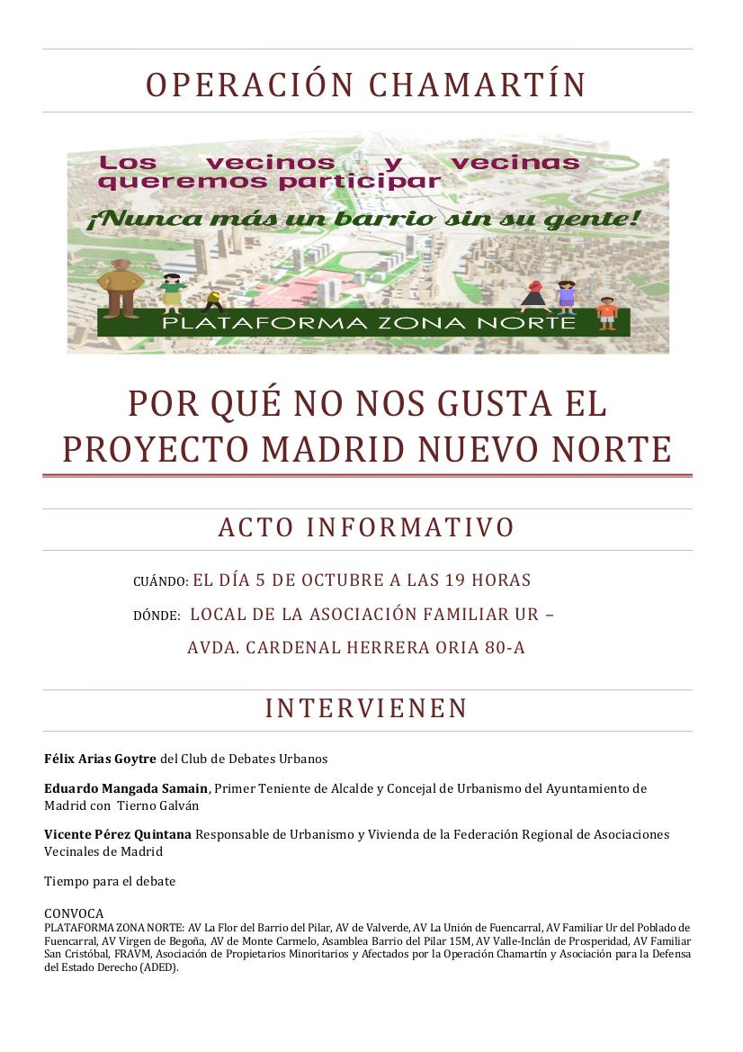 Cartel acto informativo Madrid Nuevo Norte