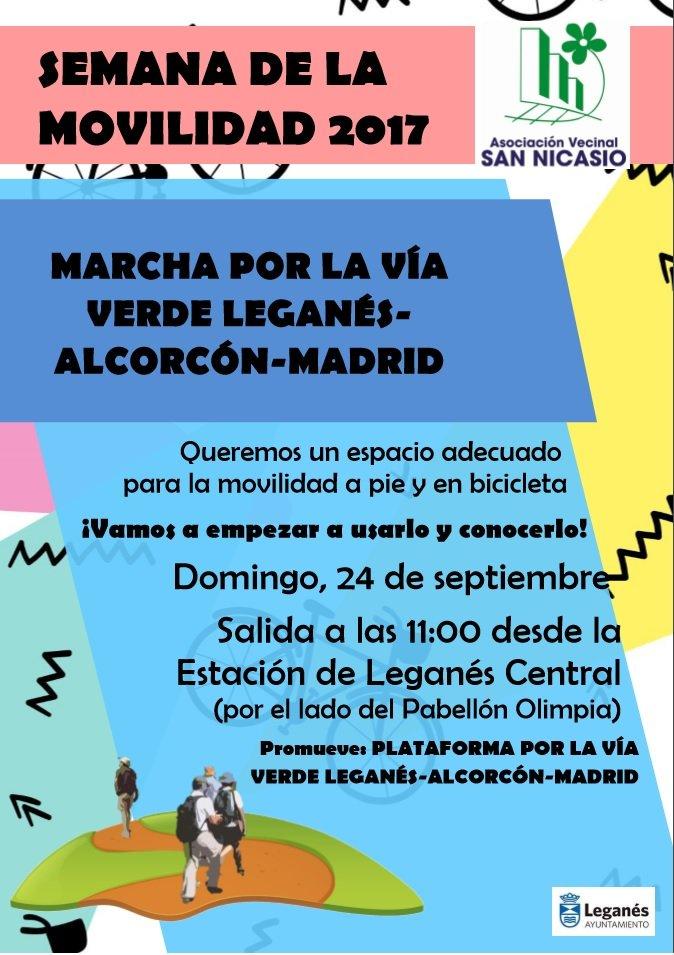 Cartel marcha vía verde Madrid-Alcorcón-Leganés