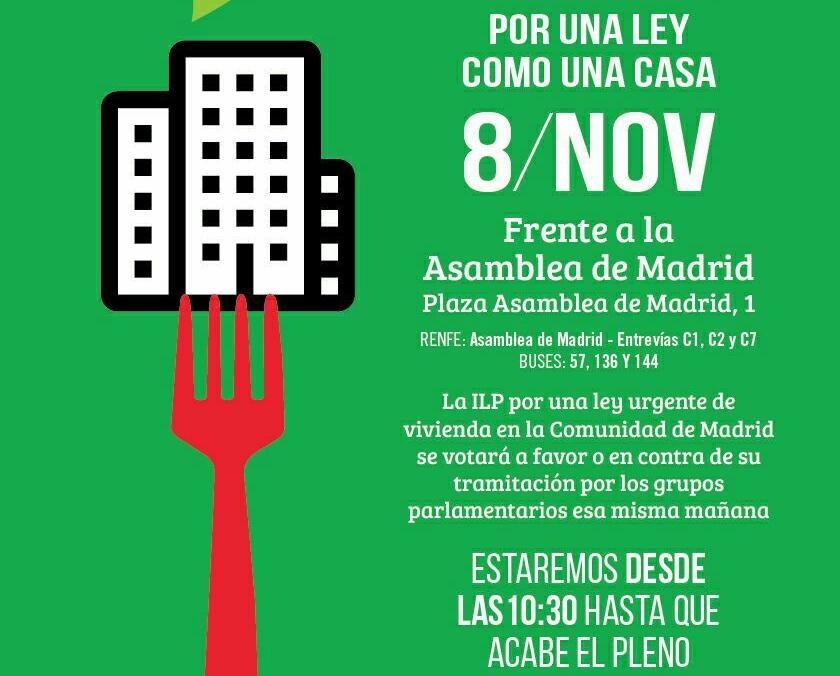La Asamblea de Madrid lleva al pleno del 8 de noviembre la ILP por el derecho a la vivienda