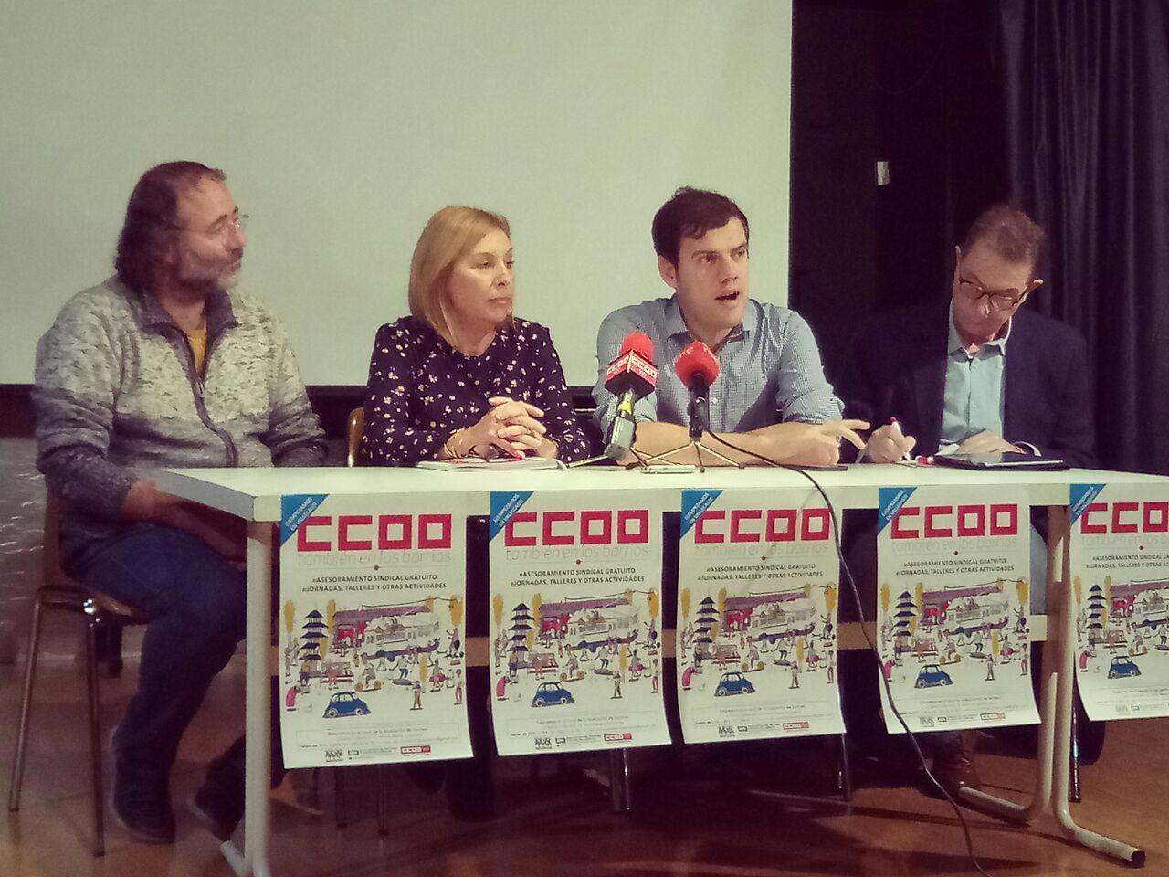 Rueda de prensa sobre la asesoría sociolaboral en barrios de CCOO
