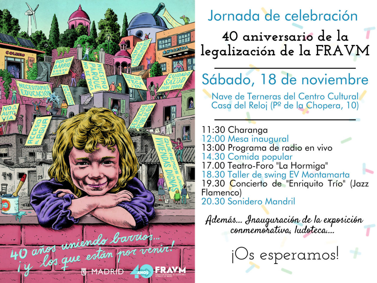 18-N: Flamenco-jazz, teatro y radio en vivo para celebrar los 40 años de la FRAVM