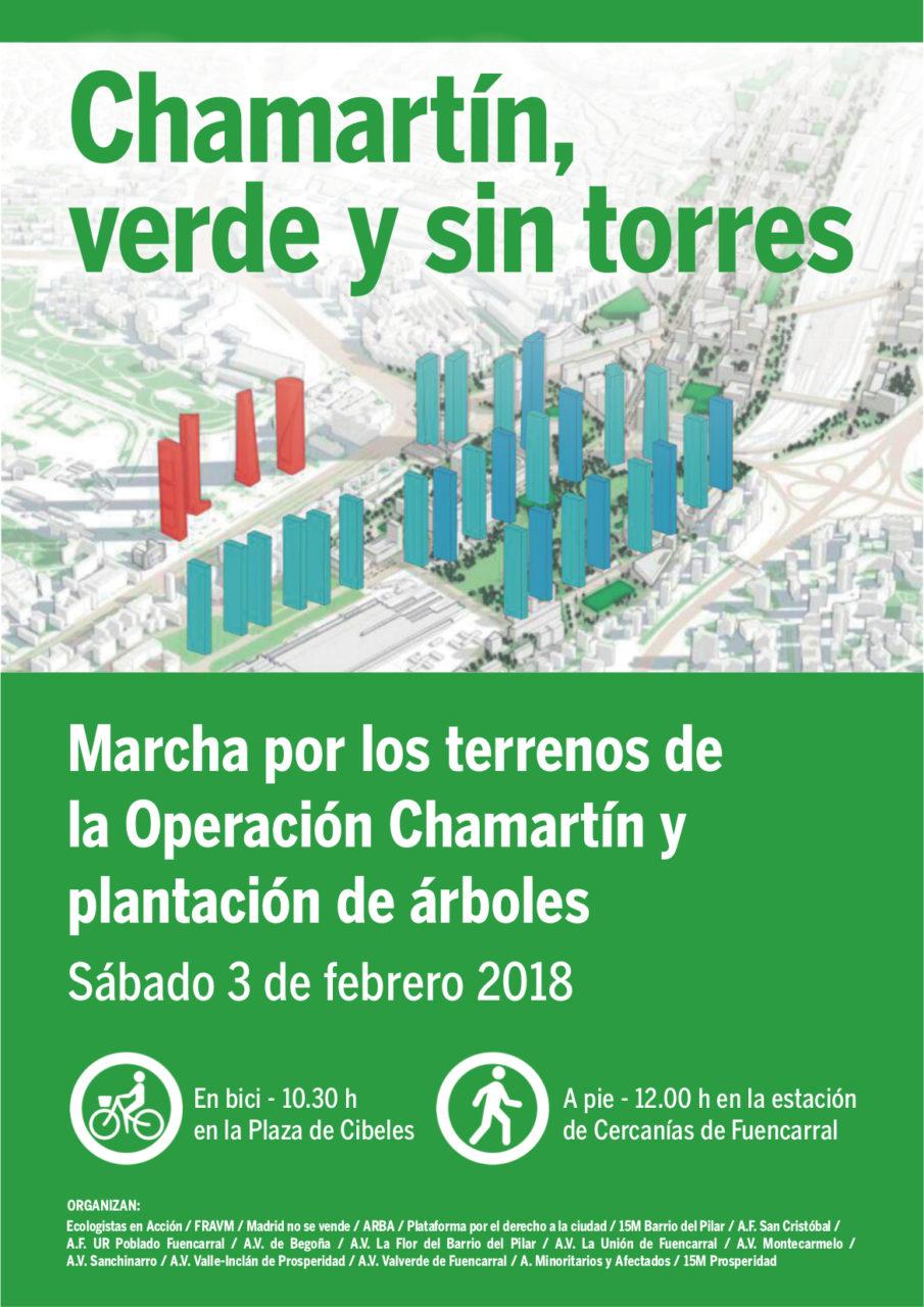 Cartel marcha Chamartín, verde y sin torres