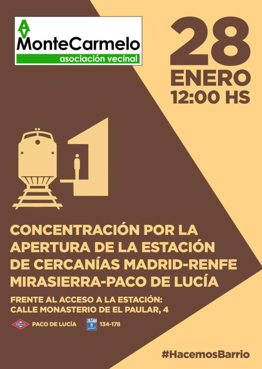 Concentración Montecarmelo apertura estación Mirasierra-Paco de Lucía