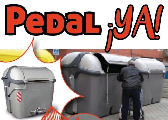Sr. alcalde de Leganés: ¿tanto cuesta colocar un pedal en los nuevos contenedores de basura?