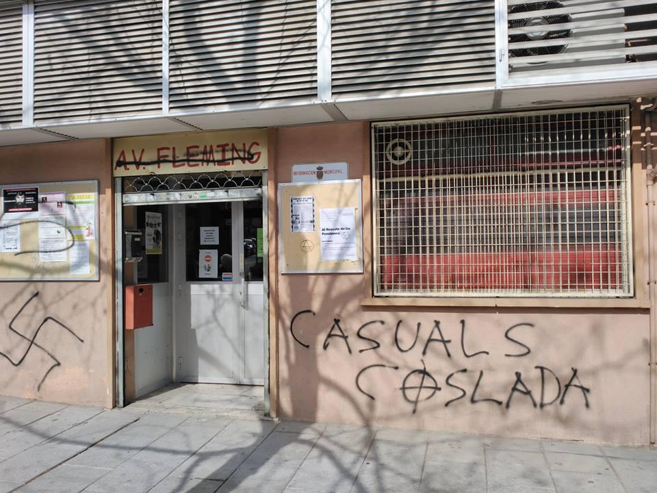 La FRAVM pide una reunión a Delegación de Gobierno tras el último ataque neonazi contra la AV Fleming de Coslada