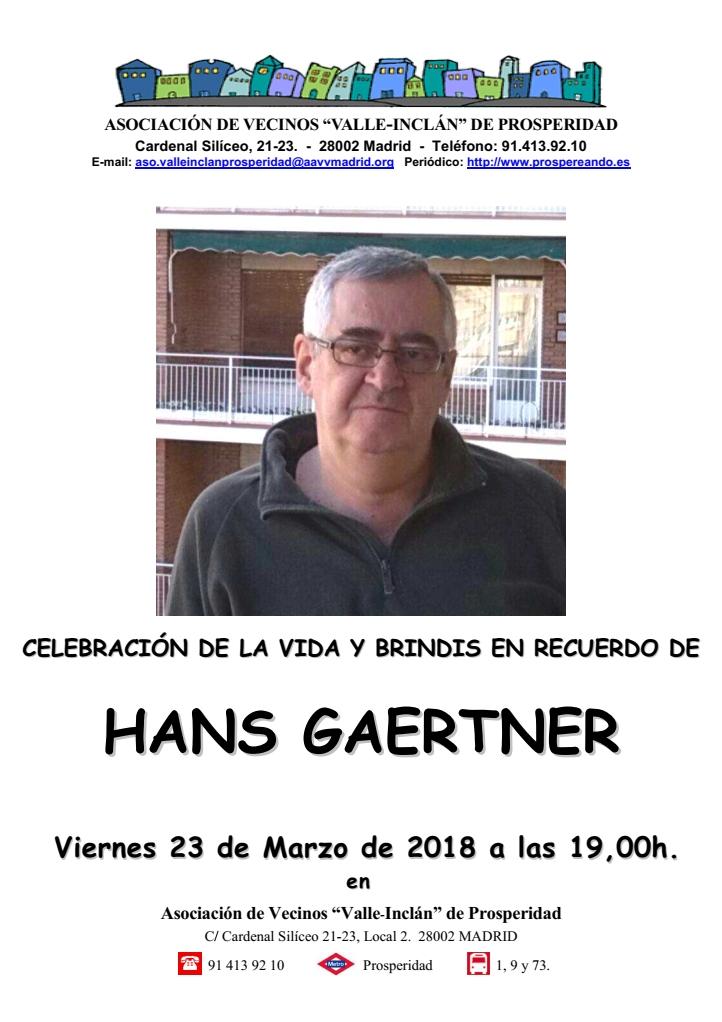 Cartel Homenaje en recuerdo de Hans Gaertner