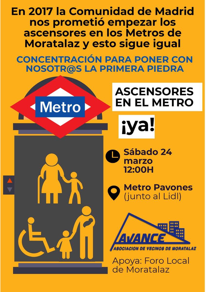 Cartel concentración por ascensores en Moratalaz