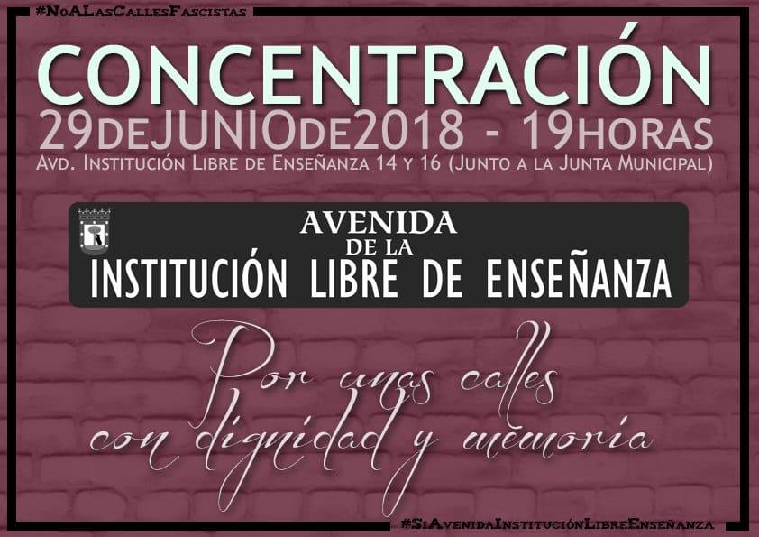 Una manifestación vecinal defenderá el nombre de la avenida Institución Libre de Enseñanza