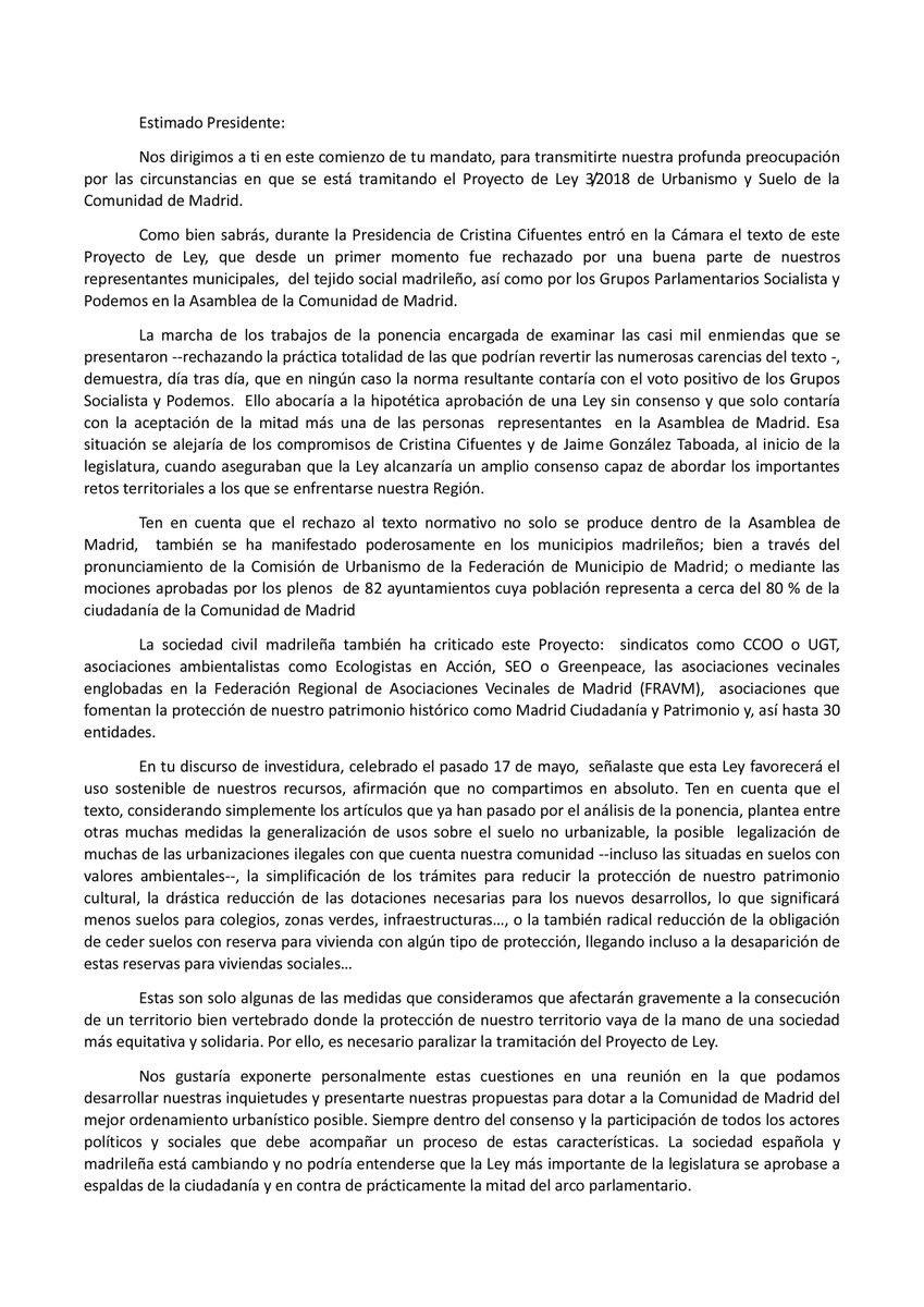 Carta a Angel Garrido sobre la Ley del Suelo